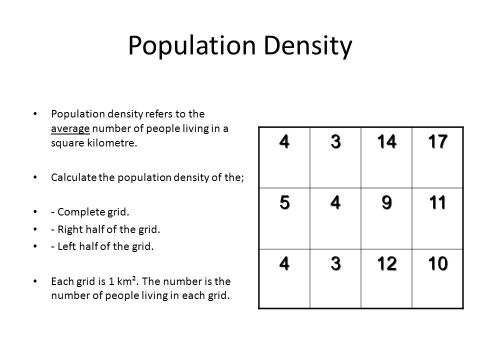 Population Density Population density refers to the average number of people living in a square kilometre. Calculate the population density of the; -