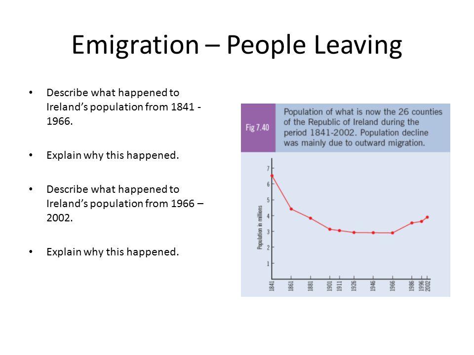 Describe what happened to Ireland's population from 1841 - 1966. Explain why this happened. Describe what happened to Ireland's population from 1966 –