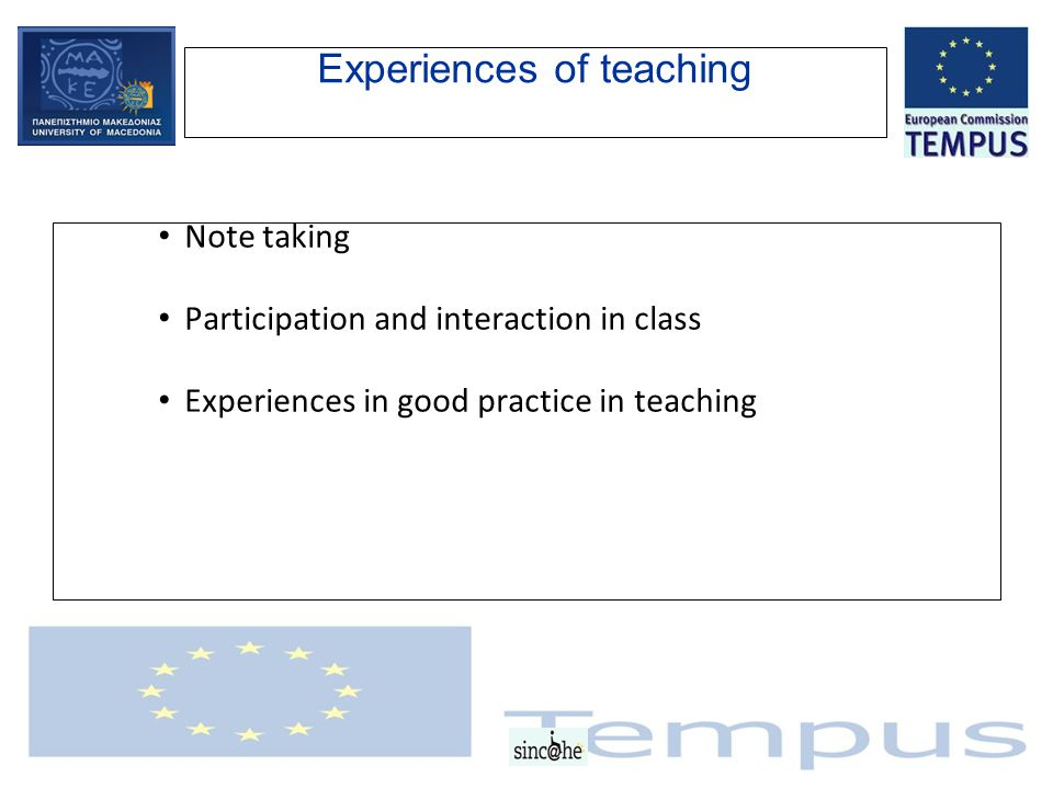 Experiences of teaching Note taking Participation and interaction in class Experiences in good practice in teaching