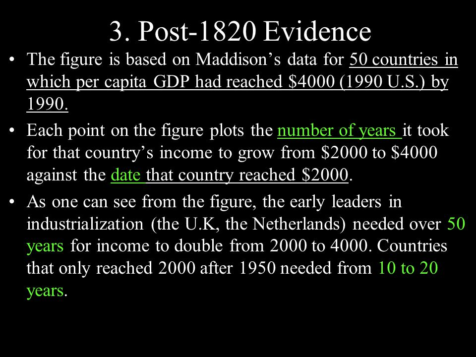 3. Post-1820 Evidence The figure is based on Maddison's data for 50 countries in which per capita GDP had reached $4000 (1990 U.S.) by 1990. Each poin