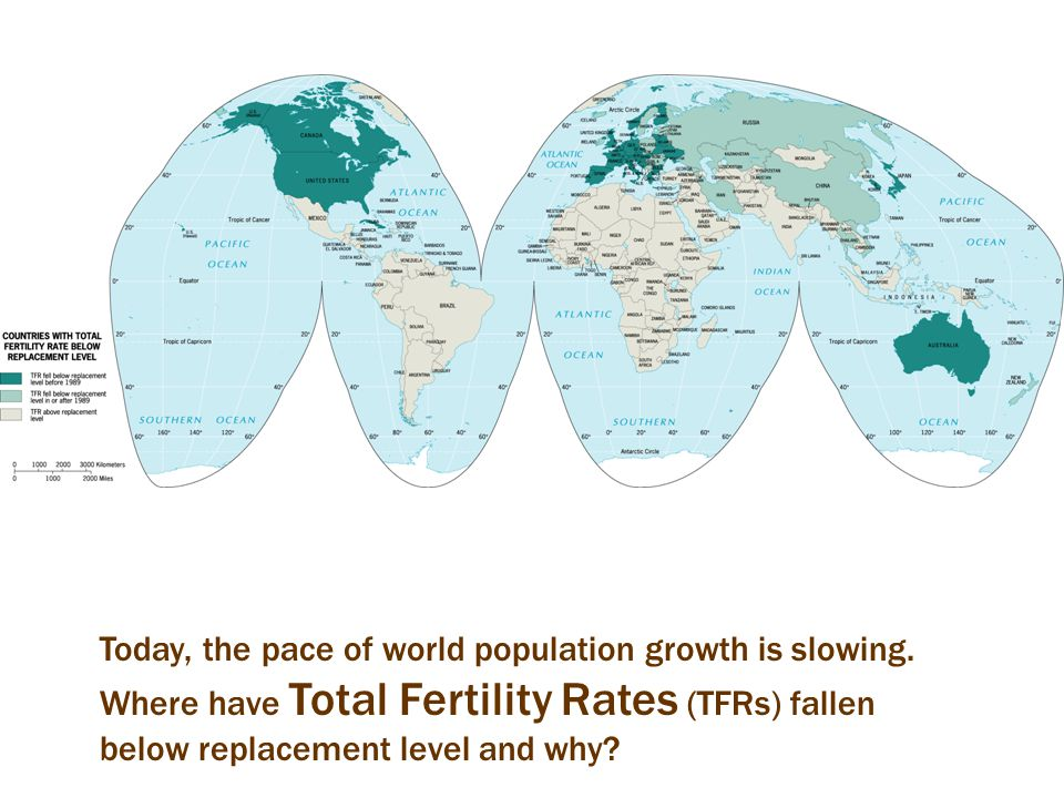 Today, the pace of world population growth is slowing. Where have Total Fertility Rates (TFRs) fallen below replacement level and why?
