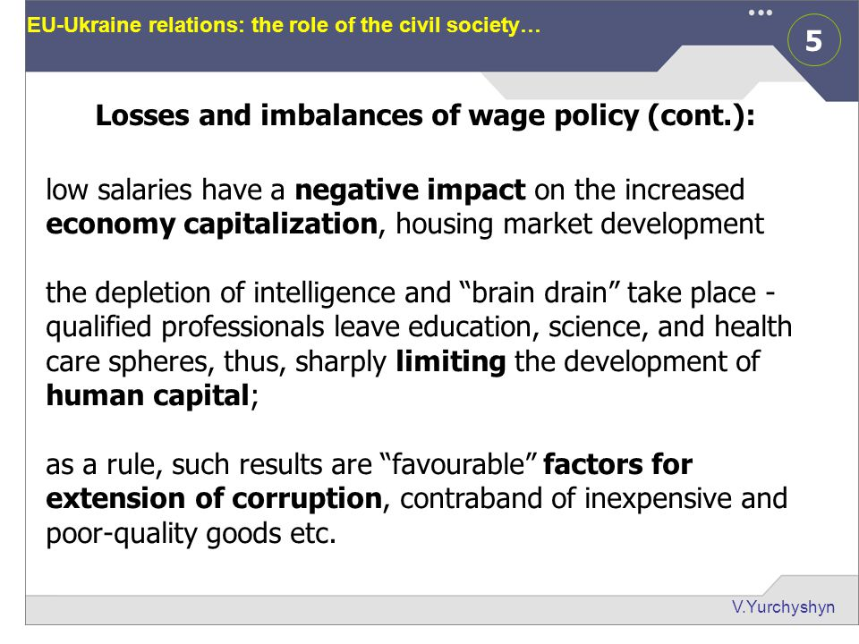 6 V.Yurchyshyn EU-Ukraine relations: the role of the civil society… Average wage and min cost of living