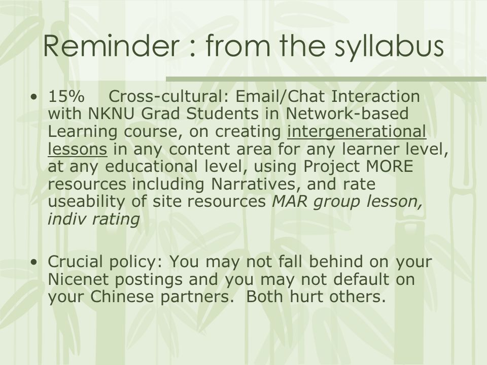 Reminder : from the syllabus 15% Cross-cultural: Email/Chat Interaction with NKNU Grad Students in Network-based Learning course, on creating intergenerational lessons in any content area for any learner level, at any educational level, using Project MORE resources including Narratives, and rate useability of site resources MAR group lesson, indiv rating Crucial policy: You may not fall behind on your Nicenet postings and you may not default on your Chinese partners.