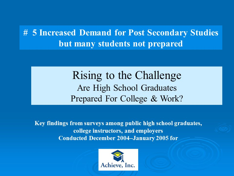 Rising to the Challenge Are High School Graduates Prepared For College & Work.