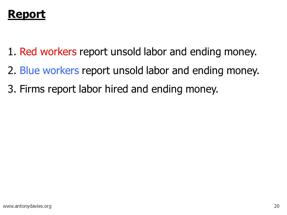 20 www.antonydavies.org Report 1.Red workers report unsold labor and ending money.