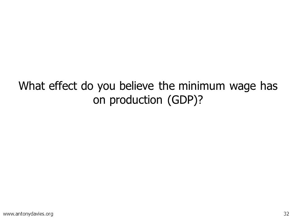 32 www.antonydavies.org What effect do you believe the minimum wage has on production (GDP)?