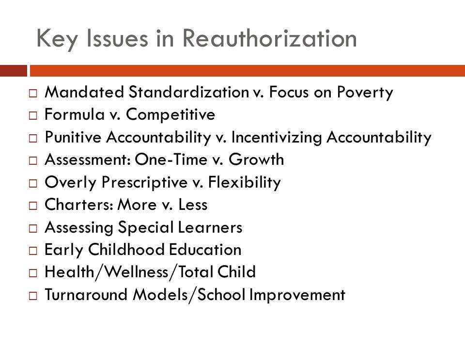 Key Issues in Reauthorization  Mandated Standardization v. Focus on Poverty  Formula v. Competitive  Punitive Accountability v. Incentivizing Accou