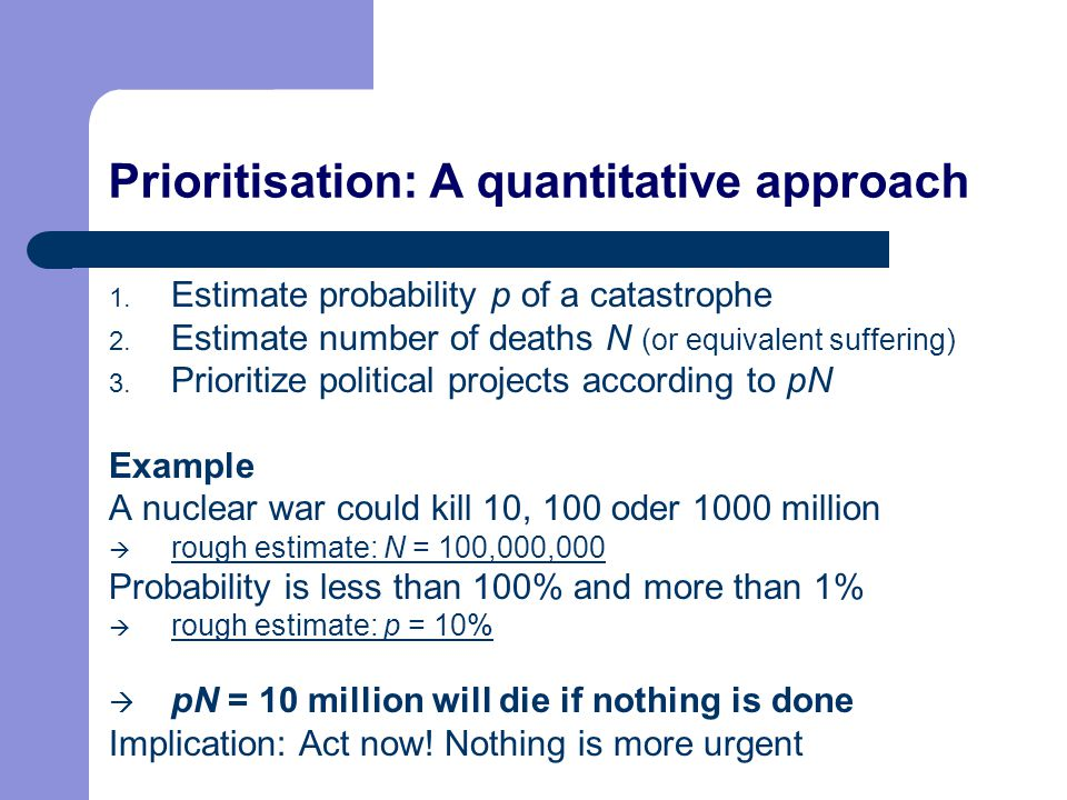 Prioritisation: A quantitative approach 1. Estimate probability p of a catastrophe 2. Estimate number of deaths N (or equivalent suffering) 3. Priorit
