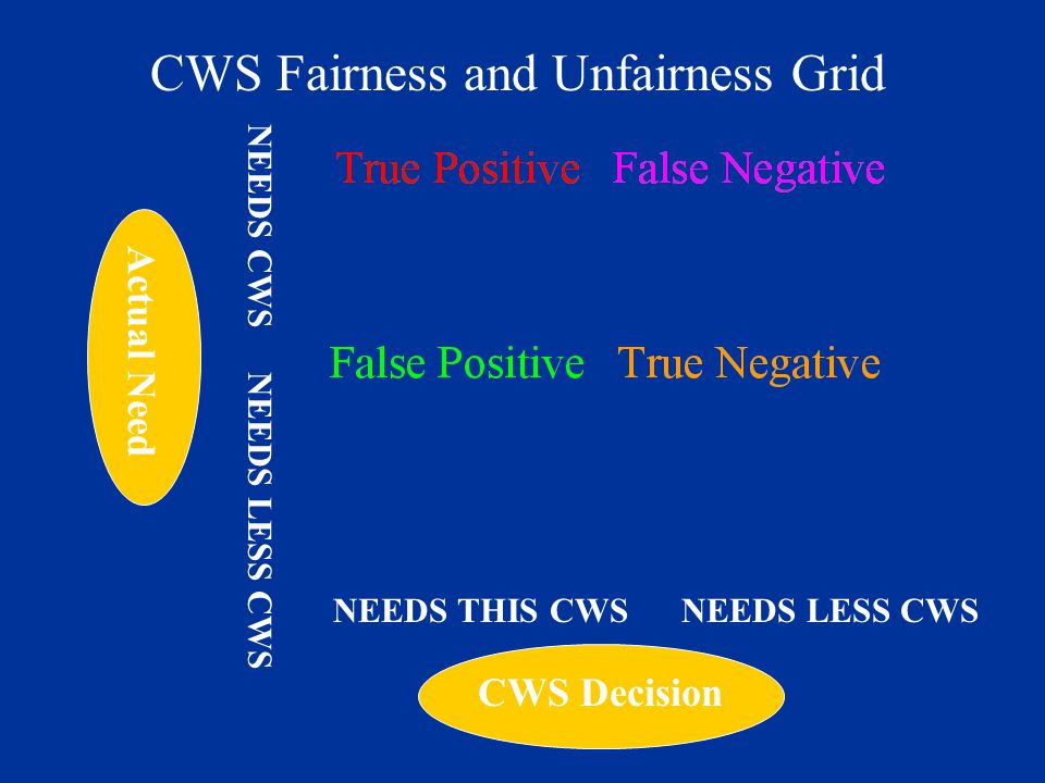 CWS Decision Actual Need NEEDS THIS CWS NEEDS LESS CWS NEEDS CWS NEEDS LESS CWS CWS Fairness and Unfairness Grid