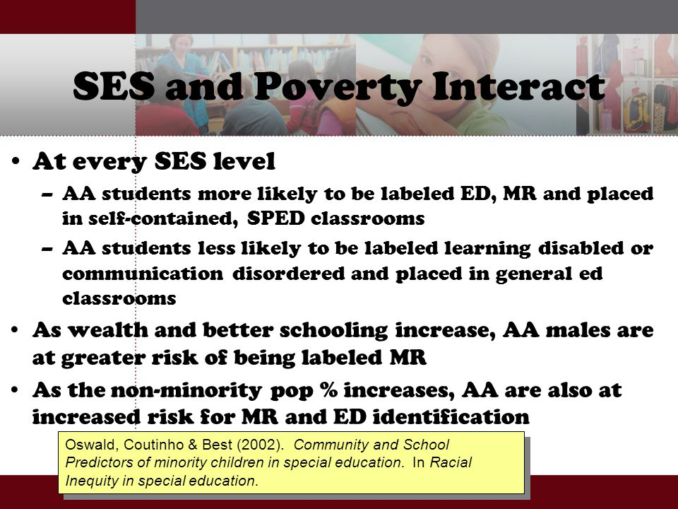 SES and Poverty Interact At every SES level –AA students more likely to be labeled ED, MR and placed in self-contained, SPED classrooms –AA students l