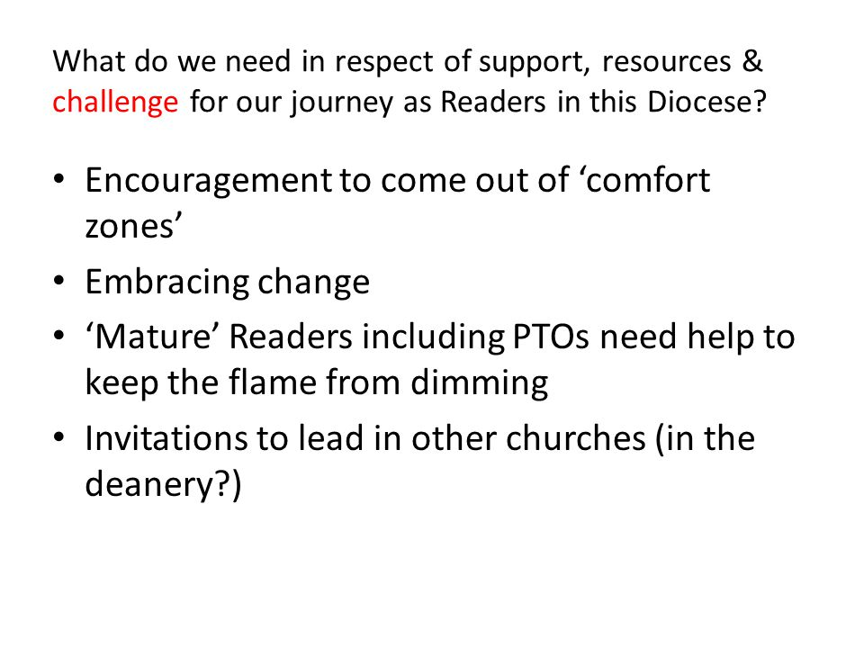 What do we need in respect of support, resources & challenge for our journey as Readers in this Diocese.