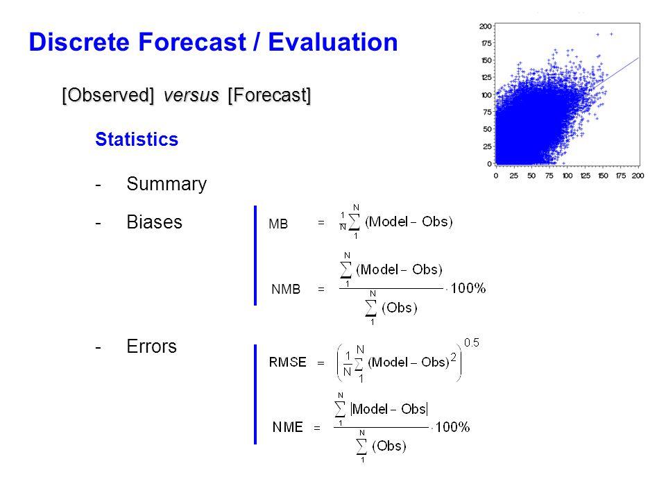 Discrete Forecast / Evaluation [Observed] versus [Forecast] Statistics - Summary - Biases MB NMB - Errors