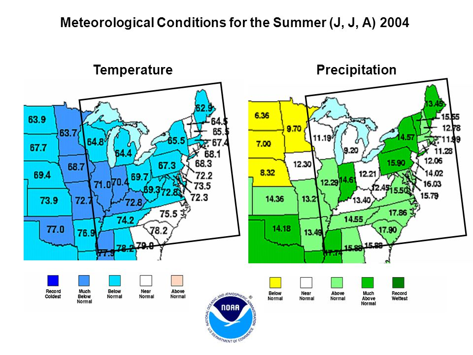Meteorological Conditions for the Summer (J, J, A) 2004 Temperature Precipitation