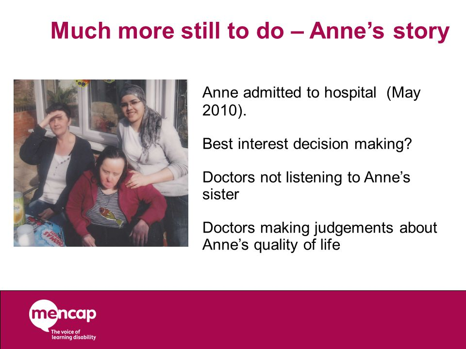 Anne admitted to hospital (May 2010). Best interest decision making.