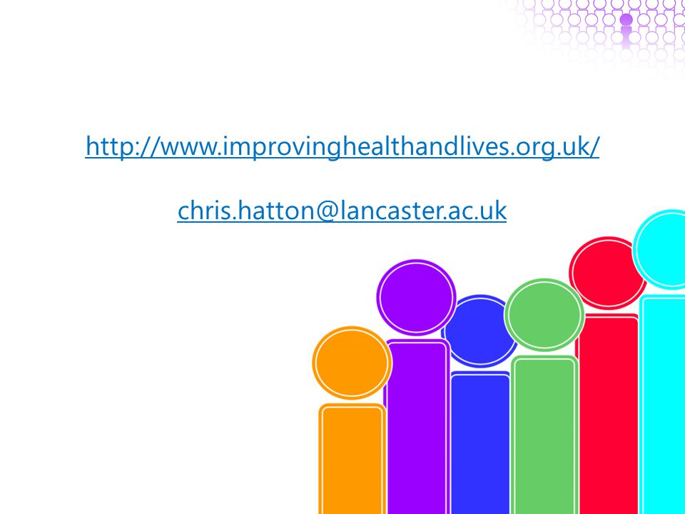 http://www.improvinghealthandlives.org.uk/ chris.hatton@lancaster.ac.uk