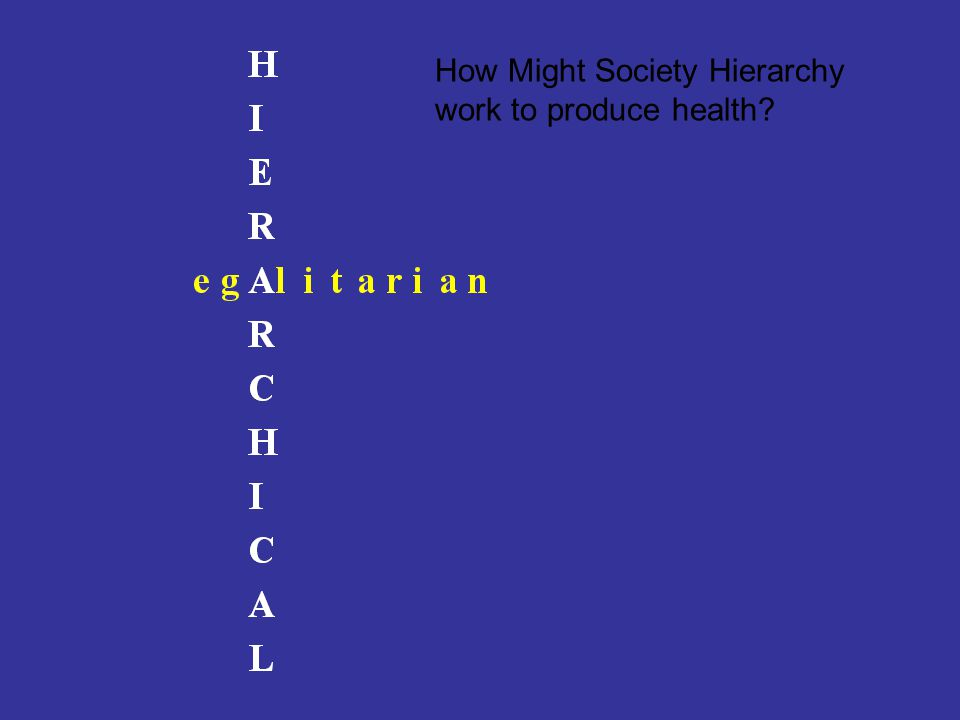 How Might Society Hierarchy work to produce health?