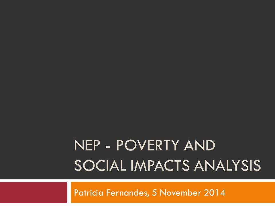 NEP - POVERTY AND SOCIAL IMPACTS ANALYSIS Patricia Fernandes, 5 November 2014