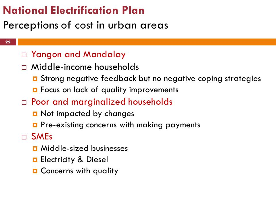 National Electrification Plan Perceptions of cost in urban areas 22  Yangon and Mandalay  Middle-income households  Strong negative feedback but no