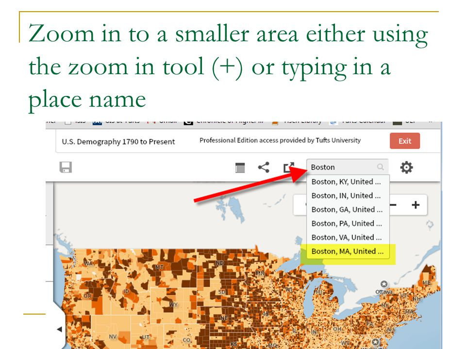 Zoom in to a smaller area either using the zoom in tool (+) or typing in a place name