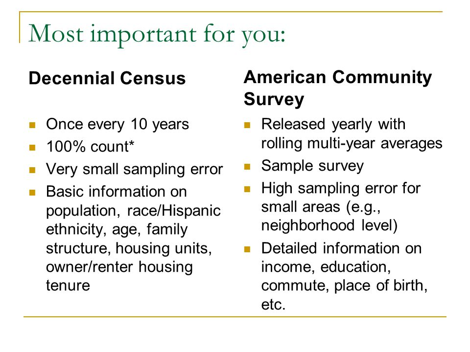 Most important for you: Decennial Census Once every 10 years 100% count* Very small sampling error Basic information on population, race/Hispanic ethnicity, age, family structure, housing units, owner/renter housing tenure American Community Survey Released yearly with rolling multi-year averages Sample survey High sampling error for small areas (e.g., neighborhood level) Detailed information on income, education, commute, place of birth, etc.