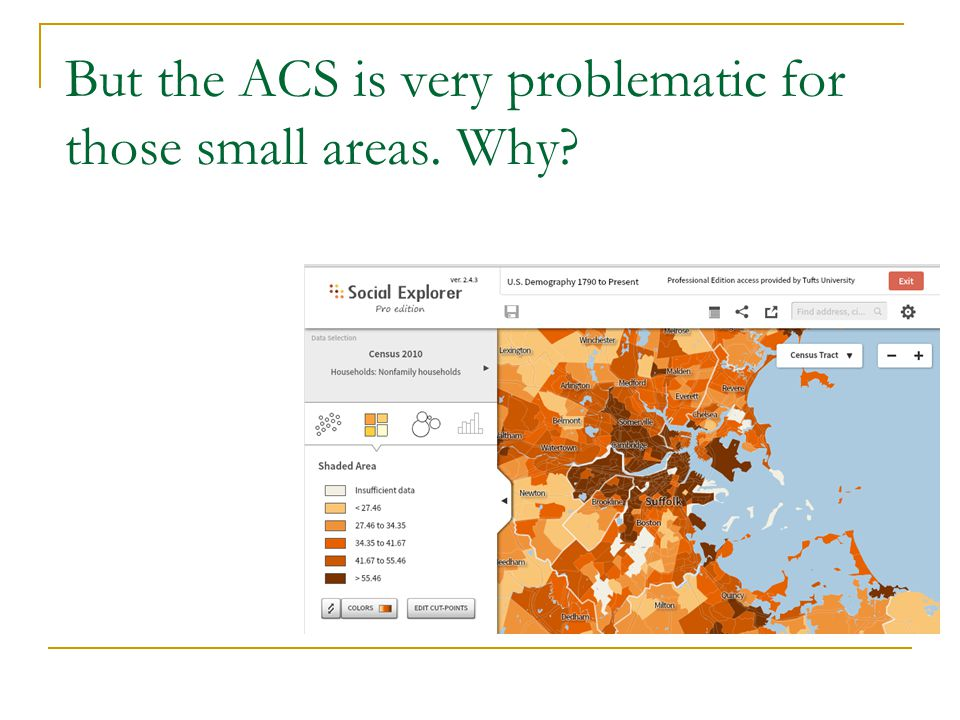 But the ACS is very problematic for those small areas. Why