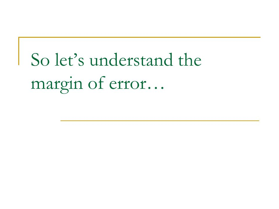 So let's understand the margin of error…