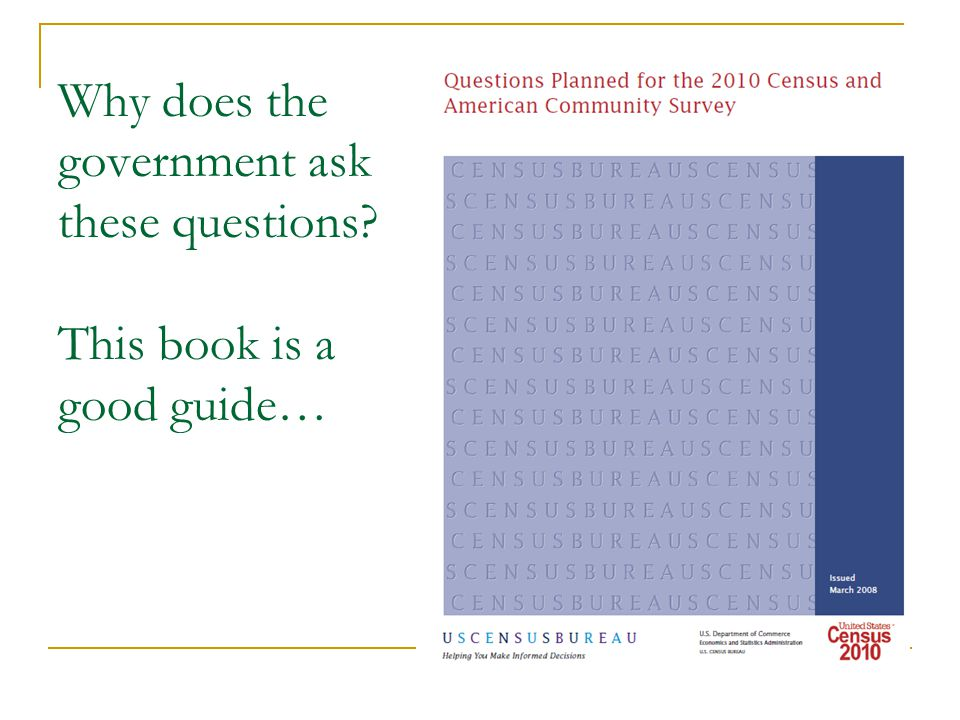 Why does the government ask these questions This book is a good guide…