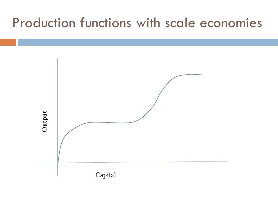 Production functions with scale economies Capital Output