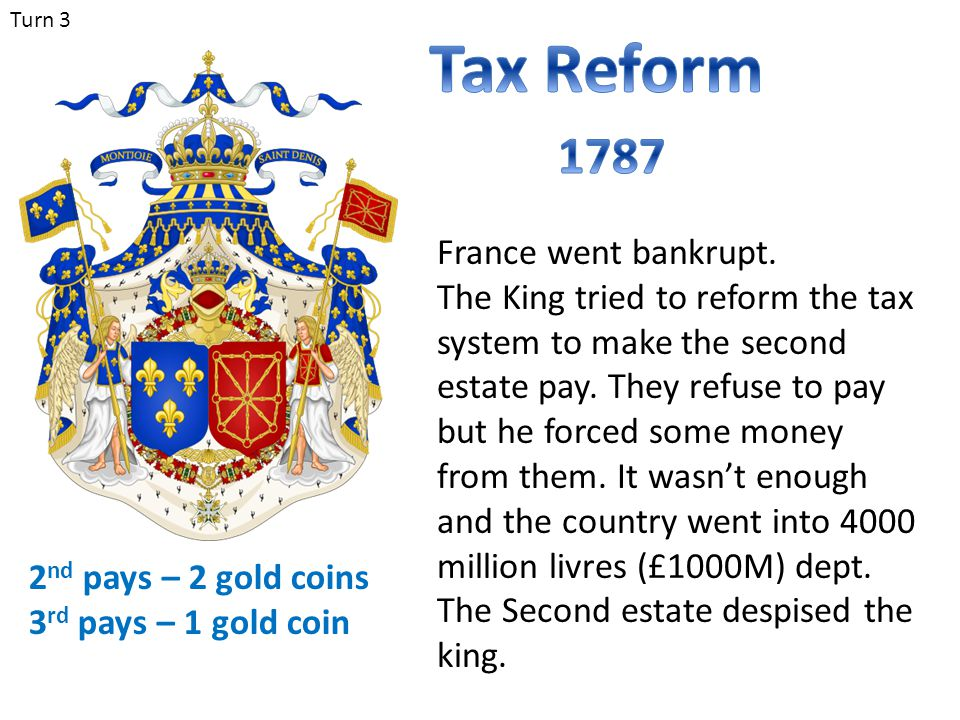 Turn 3 France went bankrupt. The King tried to reform the tax system to make the second estate pay. They refuse to pay but he forced some money from t