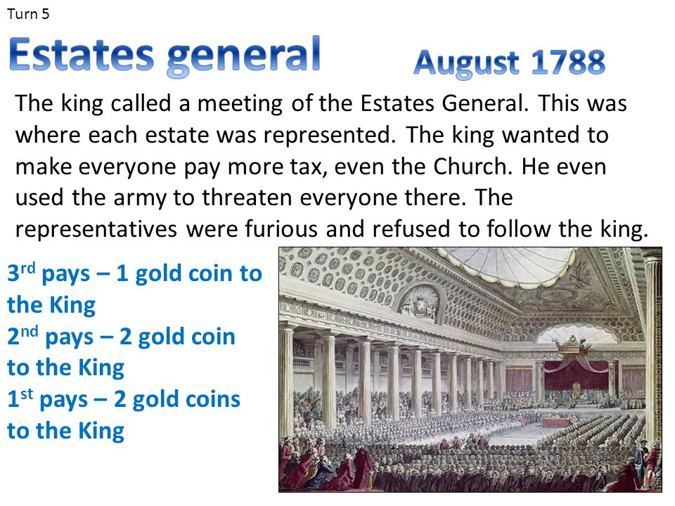 Turn 5 The king called a meeting of the Estates General. This was where each estate was represented. The king wanted to make everyone pay more tax, ev