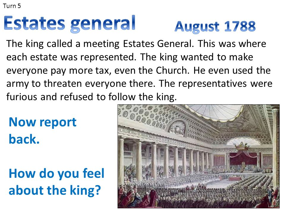 Turn 5 The king called a meeting Estates General. This was where each estate was represented. The king wanted to make everyone pay more tax, even the