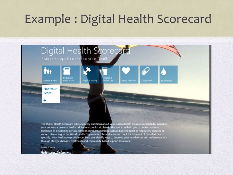 Example : Digital Health Scorecard