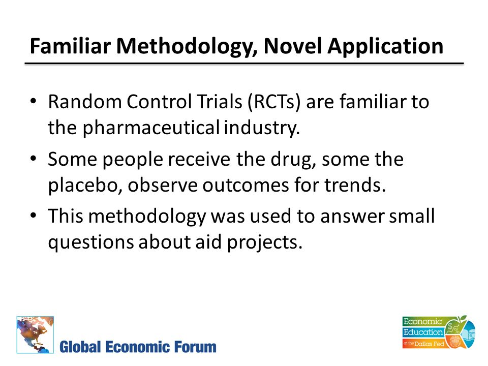 Familiar Methodology, Novel Application Random Control Trials (RCTs) are familiar to the pharmaceutical industry.