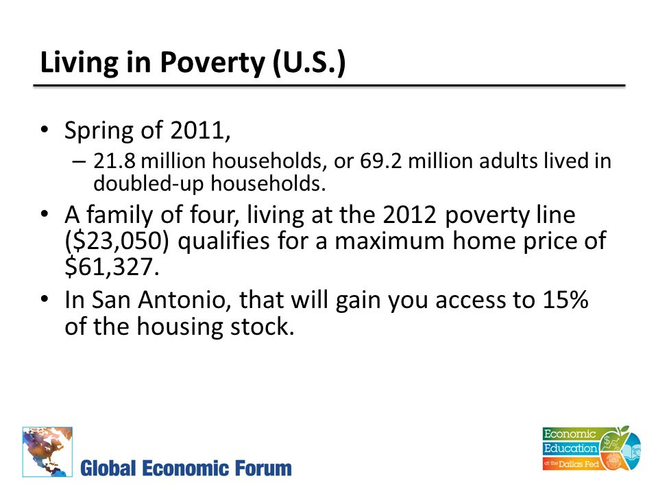 Living in Poverty (U.S.) Spring of 2011, – 21.8 million households, or 69.2 million adults lived in doubled-up households.