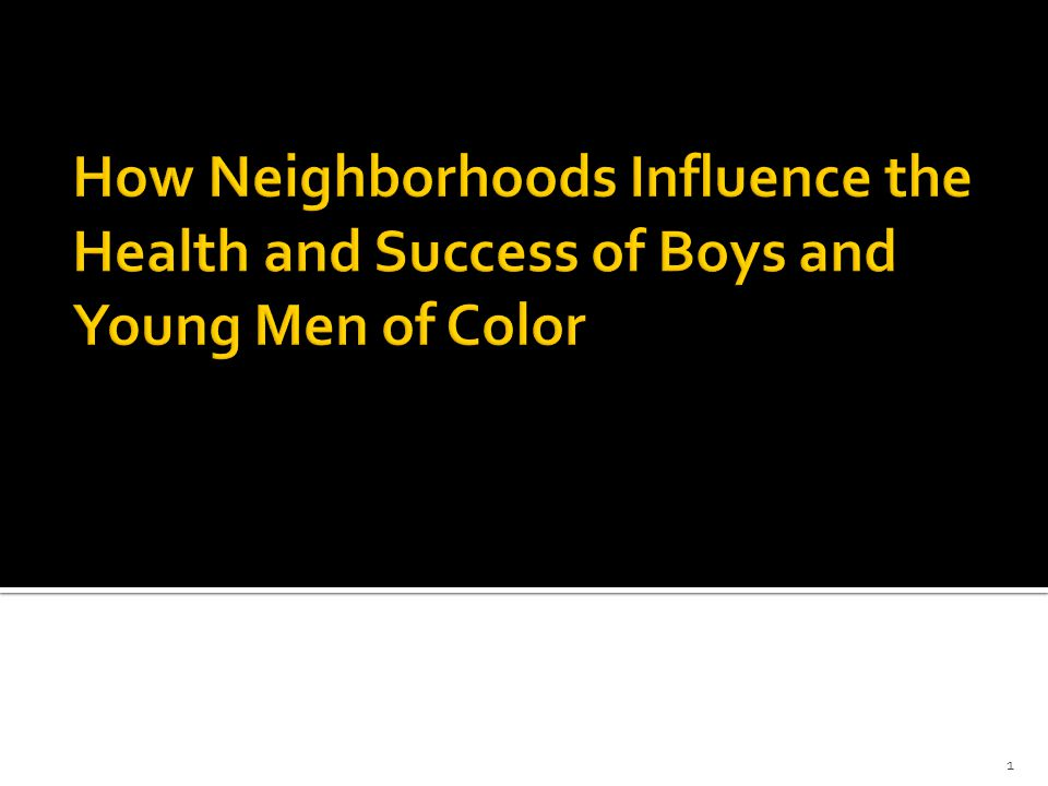 1.An Unequal Geography of Child Opportunity 2.How Neighborhoods Influence the Health of BMOC 3.How Neighborhoods Influence the Economic Opportunity of BMOC 4.Policy and Program Strategies and a Look at Changing Places 2