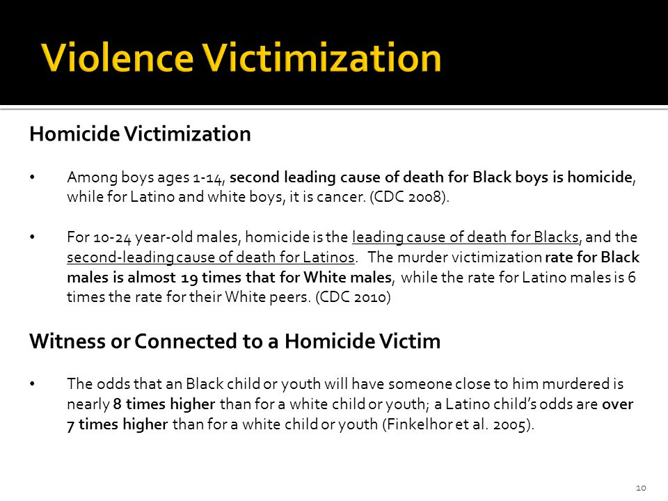 10 Homicide Victimization Among boys ages 1-14, second leading cause of death for Black boys is homicide, while for Latino and white boys, it is cancer.