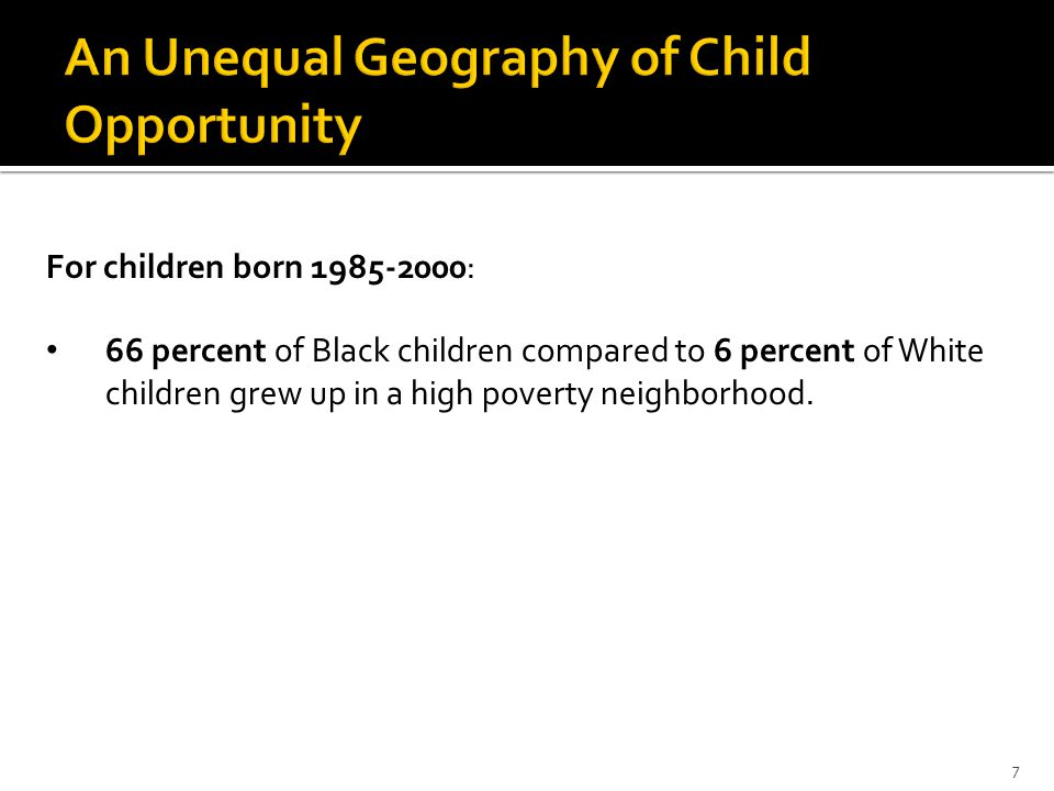 For children born 1985-2000: 66 percent of Black children compared to 6 percent of White children grew up in a high poverty neighborhood.