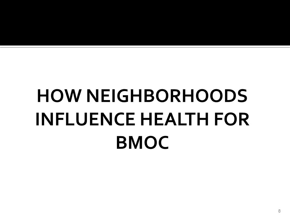 1.Violence Victimization 2.Trauma and Child Cognitive Development and Performance 3.Concentrated Disadvantage and Cognitive Development 9 We'll delve into 3 key areas that define how neighborhoods impact health: