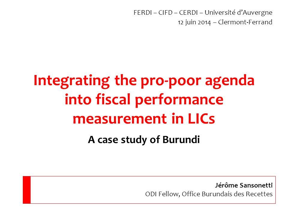 2.Burundi: tax side3. Burundi: spending4. Suggested indicators 1.