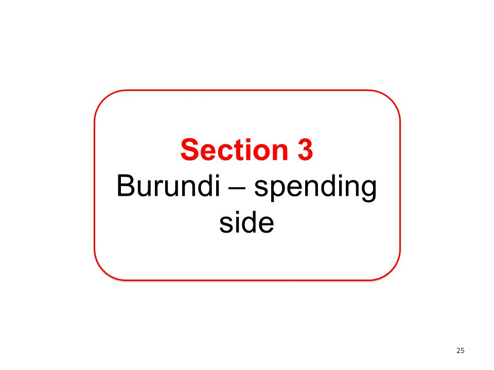 Section 3 Burundi – spending side Section 3 Burundi – spending side 25