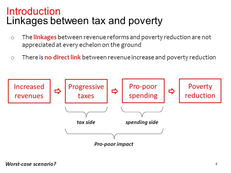 Introduction Linkages between tax and poverty 4 o The linkages between revenue reforms and poverty reduction are not appreciated at every echelon on the ground o There is no direct link between revenue increase and poverty reduction Increased revenues Poverty reduction Progressive taxes Pro-poor spending tax sidespending side Pro-poor impact Worst-case scenario