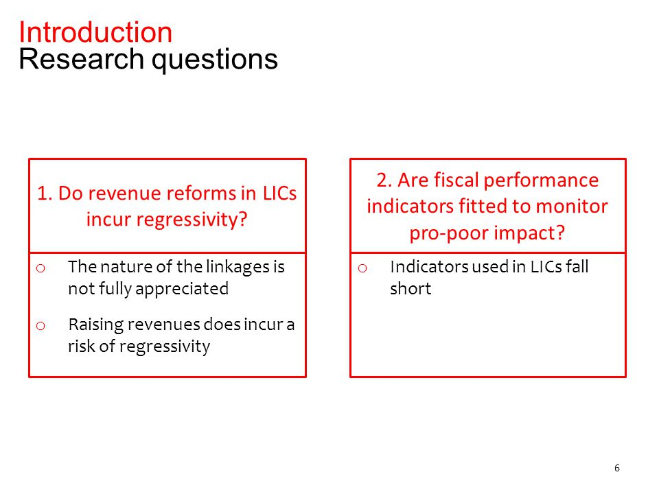 Introduction – the linkages between revenue mobilization and poverty reduction 1.Literature review 2.Case of Burundi: tax side 3.Case of Burundi: spending side 4.Suggested indicators Outline 7