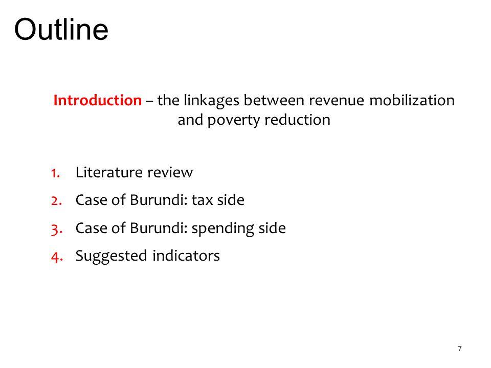 2.Burundi: tax side 3. Burundi: spending 4. Suggested indicators 1.