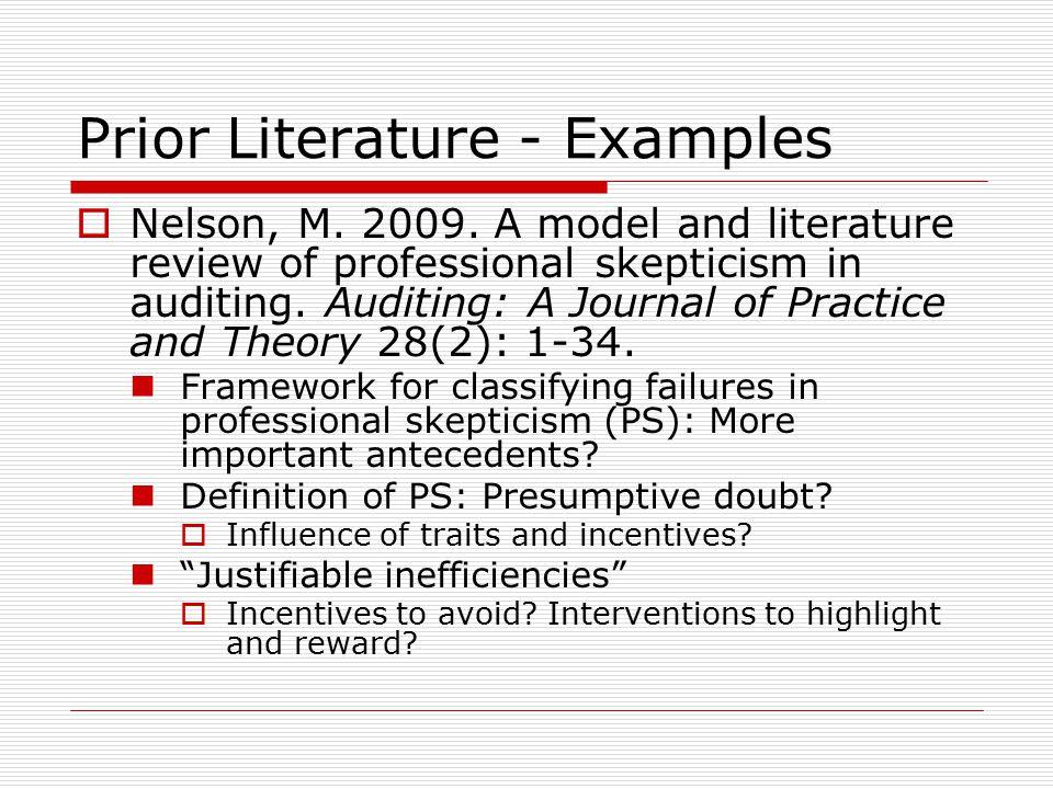 Prior Literature - Examples  Nelson, M. 2009.