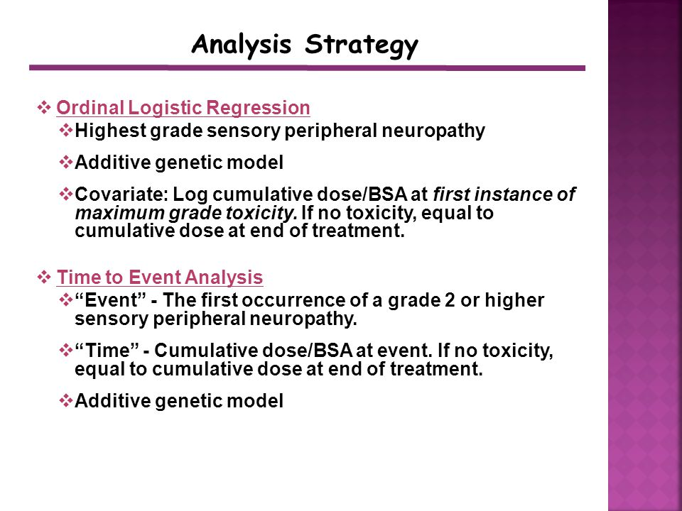  Ordinal Logistic Regression  Highest grade sensory peripheral neuropathy  Additive genetic model  Covariate: Log cumulative dose/BSA at first instance of maximum grade toxicity.