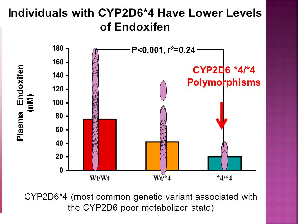 Jin Y et al: J Natl Cancer Inst 97:30, 2005 CYP2D6*4 (most common genetic variant associated with the CYP2D6 poor metabolizer state) P<0.001, r 2 =0.24 Plasma Endoxifen (nM) Individuals with CYP2D6*4 Have Lower Levels of Endoxifen CYP2D6 *4/*4 Polymorphisms