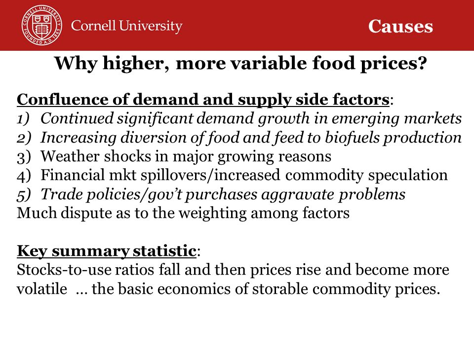 Differentiate between levels and volatility A key error in contemporary policy dialogue: Policymakers and commentators routinely conflate high price levels – a cross-sectional mean – with high food price volatility – a (function of) time series variance – perhaps b/c they naturally correlated by common structural causes.