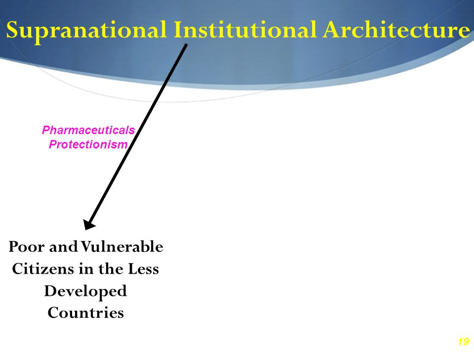 19 Supranational Institutional Architecture Poor and Vulnerable Citizens in the Less Developed Countries Pharmaceuticals Protectionism