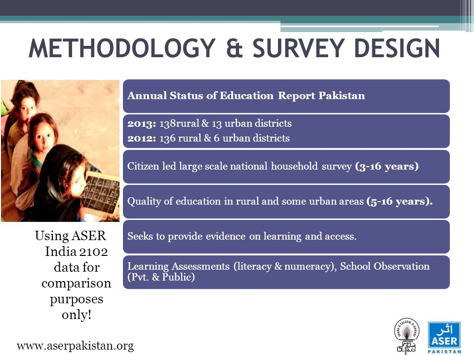 www.aserpakistan.org METHODOLOGY & SURVEY DESIGN Using ASER India 2102 data for comparison purposes only.