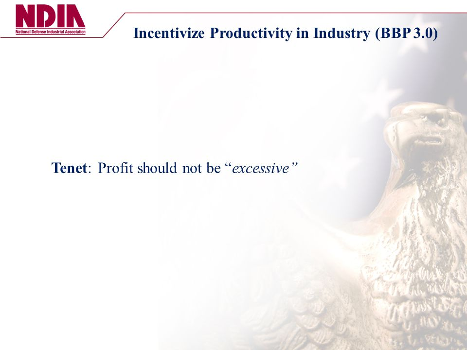 "Tenet: Profit should not be ""excessive"" Incentivize Productivity in Industry (BBP 3.0)"